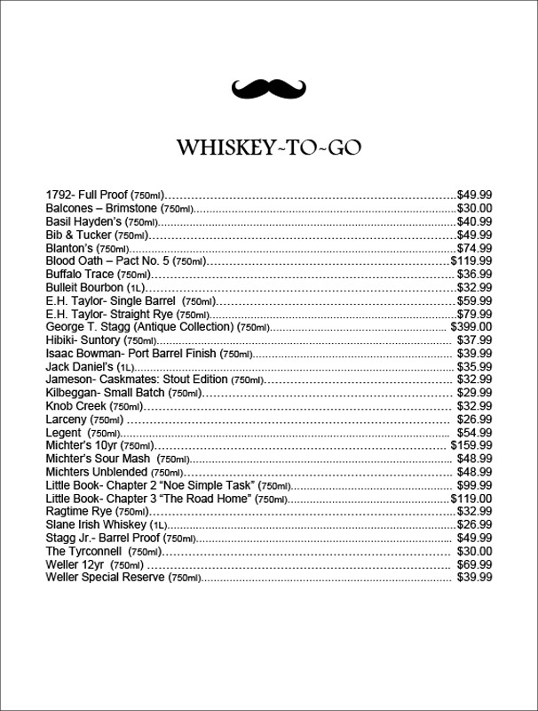 205 Dry whiskey menu 2020